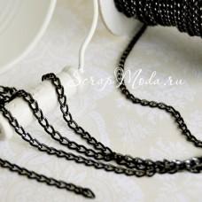 Цепочка металлическая декоративная, черная, размер 4х3 мм., цена за 0,5 метр, SN000111