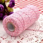 Шнур двухцветный,  хлопковый бело-розовый 2 мм., цена за 1 метр, SN000142
