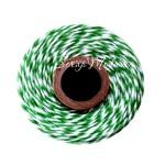 Двуцветный шпагат, хлопковый, бело-зеленый, цена за 1 метр, толщина 2 мм., SN000146