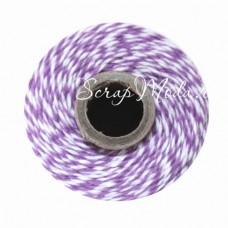 Шнур двухцветный,  хлопковый бело-лавандовый, 2 мм., цена за 1 метр, SN000147