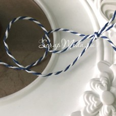Бумажный Двухцветный Шнур, бело-синий, цена за 1 метр, SN000152