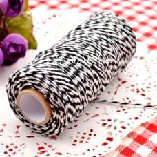 Двуцветный шпагат, хлопковый, бело-чёрный, цена за 1 метр, толщина 2 мм., SN000156