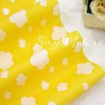 Ткань Облака Yellow, желтый фон, размер отреза ткани 48x108 см., непромокаемая эластичная ткань
