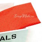 Ткань Горох белый на красном фоне, размер отреза ткани 50х50 см., TK000104