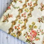 Ткань Винтажные цветочки на сливочном фоне, размер отреза ткани 65х50 см., TK000115