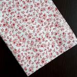 Ткань Цветочки красные, мелкие на белом фоне, размер отреза ткани 50х50 см., TK000124