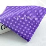 Ткань Горох белый на фиолетовом фоне, размер отреза ткани 50х120 см., 100% хлопок, TK000132