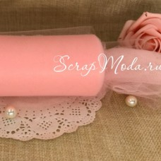 Фатин персико-розовый,  ширина 15 см., цена за 1 метр. TK000147
