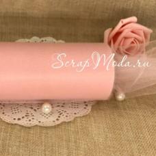 Фатин пудро-розовый,  ширина 15 см., цена за 1 метр. TK000148