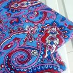 Ткань Узоры на голубом фоне, размер отреза ткани 55х80 см., отличная ткань для блокнотов и альбомов,  хлопок, TK000173