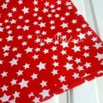 Ткань  Белые звездочки на красном фоне, размер отреза ткани 51х51 см., отличная ткань для блокнотов и альбомов,  100% хлопок, TK000175