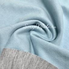 Ткань под замшу на трикотажной основе, Нежный Голубой, отрез размером 50х70 см., TK000185