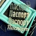 Надпись из термотрансфера Паспорт, пленка зеркальное серебро, размер общий 9,5х6,5см., 4 штуки, ZA000005