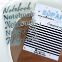Надпись из термотрансфера Notebook, пленка матовое серебро, размер общий  8,5х6,5см., 4 штуки, TN000008