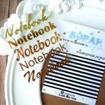 Надпись из термотрансфера Notebook, пленка зеркально- золотая, размер общий  8,5х6,5см., 4 штуки, TN000009
