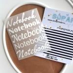 Надпись из термотрансфера Notebook, пленка матовая белая, размер общий  8,5х6,5см., 4 штуки, TN000010