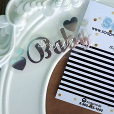 Надпись из термотрансфера Baby с сердечками, пленка зеркальное серебро, размер слова 5,4х 2,8см., TN000018