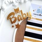 Надпись из термотрансфера Baby Бетмен, пленка зеркальное золото, размер слова 5,8х 2,8см., TN000023