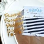 Надпись из термотрансфера Passport, пленка зеркальное золото, размер общий  8,5х6,8см., TN000041