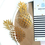 Надпись из термотрансфера Ананас, пленка зеркальное золото, размер 7х3,5 см., TN000107