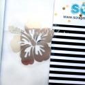 Надпись из термотрансфера Гавайский цветок, пленка зеркальное серебро 4,5х4 см., TN000134