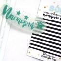 Надпись из термотрансфера Паспорт и звездочки, пленка глиттерный изумруд, размер надписи 6,5 см, TN000158