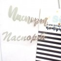 Надпись из термотрансфера Паспорт 161, пленка зеркальное серебро, размер надписи 6,5 см, 2 надписи на русском языке, TN000161