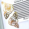 Надпись из термотрансфера Резная розочка с листиком, пленка зеркальное золото, размер 4х6 см, TN000172