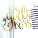 Надпись из термотрансфера Girl Boss, пленка зеркальное золото, размер 8х7см, TN000174