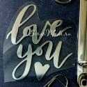 Надпись из термотрансфера Love you, пленка зеркальное серебро, размер общий 8,5х6,5 см., ZA000221