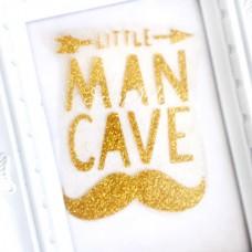 Надпись из термотрансфера Little Man Cave, пленка золото глиттер, размер общий 7,5х9,5 см., TN000227