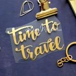 Надпись из термотрансфера, Time to travel, зеркальное золото, размер 7х5,4 см. TN000277