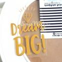 Надпись из термотрансфера Dreams BIG+алмаз, пленка зеркальное золото, размер общий 7,5х11см., TN000292