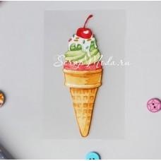 Термонаклейка для декорирования текстильных изделий Мороженое, размер 10х12 см АртУзор, TN000301