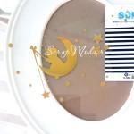 Рисунок из термотрансфера Baby на луне, пленка зеркальное золото, размер общий 10х8см., ZA000321