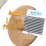 Надпись из термотрансфера Little Princess с короной, пленка зеркальное золото, размер общий 8х8 см., TN000326