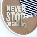 Надпись из термотрансфера NEVER STOP DREAMING, пленка зеркальное серебро, размер общий 6х5,5см., TN000360