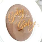 Надпись из термотрансфера Baby 348!, пленка зеркальное золото, размер общий 10х6см., TN000348