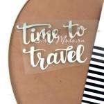 Надпись из термотрансфера, Time to travel, зеркальное серебро, размер 7х5,4 см., TN000358