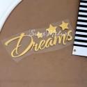 Надпись из термотрансфера Dreams+звездочки, пленка зеркальное золото, размер общий 8х3,4см., TN000362
