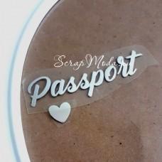 Надпись из термотрансфера Паспорт+сердечко, пленка зеркальное серебро, размер общий 60х18мм., TN000369