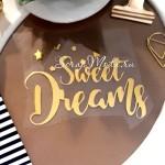 Надпись из термотрансфера SWEET DREAMS, пленка зеркальное золото, размер общий 9х6,5см., ZA000377