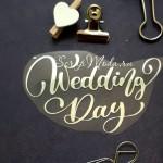Надпись из термотрансфера Wedding Day411, пленка зеркальное серебро, размер общий 9,5х6см., ZA000411
