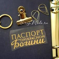 Надпись из термотрансфера Паспорт прекрасной Богини422, пленка зеркальное золото, размер надписи 6,5х3см, TN000422