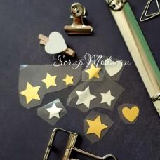 Рисунок из термотрансфера MIX Звёздочки+сердечки, 10 штук, размез от 10 до 20 мм, пленка зеркальное золото и серебро, TN000424
