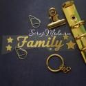 Надпись из термотрансфера Family+звёздочки428, пленка зеркальное золото, 11х2,5 см., ZA000428