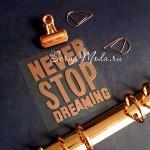 Надпись из термотрансфера NEVER STOP DREAMING, пленка зеркальное Розовое золото, эффект фольгирования,  размер общий 8,5х6,5см., TR000446