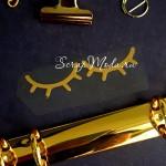 Надпись из термотрансфера Реснички447, пленка зеркальное золото, размер общий  7х1,8см., TN000447