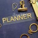 Надпись из термотрансфера PLANNER456, пленка зеркальное  золото, размер общий 9,5х1,5 см., TN000456