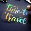 Надпись из термотрансфера, Time to travel, пленка с эффектом фольгирования, Spectrum,, размер 7х5,4 см. TN000464